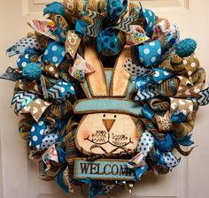 Bunny Wreath, Easter Mesh Wreath, Bunny Mesh Wreath, Easter Door Hanger, Easter Decor, Spring Mesh Wreath, Rabbit Wreath, Easter Wreath by Texascaseyscreations on Etsy