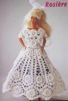 Vestido de Crochê Para Barbie Com Gráfico