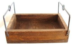 Wood Serving Tray with Rugged Forged Iron Handles by Bacon Square Farm traditional-serving-trays