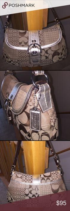 COACH Signature Large Baguette NWOT Never used!  Signature shoulder bag with metallic gold straps and silver hardware. Perfect condition! Coach Bags