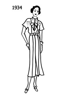 1934 dress - fashion coloring