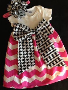 Hot Pink Chevron Onesie Dress!! I totally have to make this!!! I need a sewing machine pronto!!