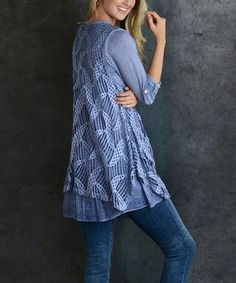 Loving this Blue Cable-Knit Tunic on #zulily! #zulilyfinds