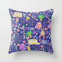 #school #teacher #pattern #alphabet #colorful available in different #homedecor products. Check more at society6.com/julianarw #pillow