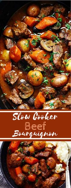Slow Cooker Beef Bourguignon (((put together and start can find Slow cooker beef stew and more on our website.Slow Cooker Beef Bourguignon (((put together and start Beef Bourguignon Slow Cooker, Slow Cooker Beef, Slow Cooker Recipes, Meat Recipes, Cooking Recipes, Healthy Recipes, Beef Chuck Recipes, Slow Cooker Dinners, Bon Dessert