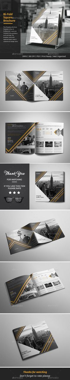 Corporate Bi-fold Square Brochure 02 - PSD Template • Only available here ➝ https://graphicriver.net/item/corporate-bifold-square-brochure-02/16936484?ref=pxcr
