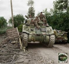 Sherman tank of HQ 29th Armored Brigade, 11th Armored Division. Mondrainville, Normandy 1944