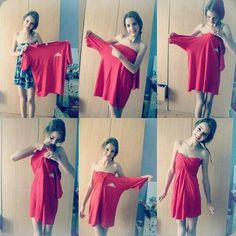 Make a strapless dress out of an oversized t-shirt!