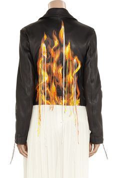 Embroidered flame-print leather jacket by Maison Martin Margiela