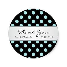 Black and teal polka dots Wedding Thank you Classic Round Sticker