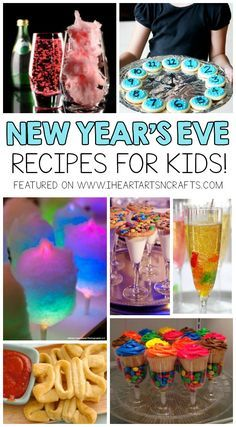Sweet and creative food will be a hit at a New Year's Eve Party with kids. Here are some fun ideas you might enjoy! This post contains affiliate links. Please see my disclosure policy. Cotton Candy Magic Mocktail – Fill a glass with pink cotton candy and New Years Eve Party Ideas Food, New Years Eve Snacks, New Year's Snacks, New Years Eve Drinks, New Years Eve Dessert, New Year's Eve Appetizers, New Years Eve Dinner, New Years Party, Ideas Party