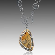 Madagascar Agate-Spinel Necklace - Sterling Silver, 22K Yellow gold leaf, Madagascar Agate - Spinel by Lori Gottlieb