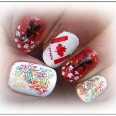 canada day nail art - Google Search Hawaiian Punch, Stamping Nail Art, Canada Day, Art Google, My Nails, Polish, Superstar, Red, Stamps