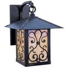 "Arroyo Craftsman Timber Ridge 1-Light Outdoor Wall Lantern Size: 19.5"" H x 16"" W x 19.5"" D, Finish: Raw Copper, Shade Type: Gold White Iridescent"