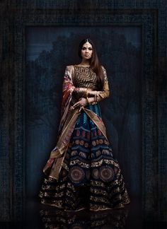 Looking for Dark Blue and Gold Lehenga with Embroidery and Sequins? Browse of latest bridal photos, lehenga & jewelry designs, decor ideas, etc. Indian Fashion Trends, Asian Fashion, India Fashion, Desi Wedding Dresses, Bridal Dresses, Bridal Outfits, Indian Attire, Indian Wear, Indian Style