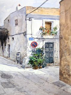 Watercolor Architecture, Watercolor Landscape, Watercolor Paintings, Watercolor Japan, Watercolour, Art Aquarelle, Canson, Arte Popular, Urban Sketching
