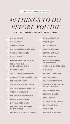 Das ist meine neue Bucket-Liste mit einigen Dingen in den - anima . - That's my new bucket list excluding some of the things in there – anima… Das ist meine neue Bucket-Liste mit einigen Dingen in den – Animation Vie Motivation, Things To Do When Bored, 30 Things To Do Before 30, Things To Do Alone, Random Things To Do, 30 Before 30 List, Fun Things, Productive Things To Do, Free Things To Do