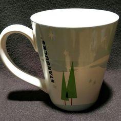 Starbucks 2011 Christmas Holiday White and Baby Blue Snow Scene Coffee Mug #Starbucks