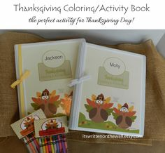 Excellent Thanksgiving activity for the kids-Fill a personalized binder with their favorite character coloring sheets. See lots of links in our blog post