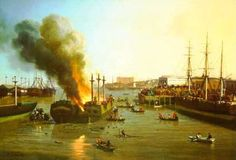 """Charles Christian Nahl (American, 1818 – 1878), """"Fire In The San Francisco Bay"""""""