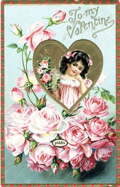 Super-cute vintage Victorian-era Valentine with girl in heart frame surrounded by roses. One of more than 100 #vintage victorian-era #valentines available from piddix for licensing. PDXC8375