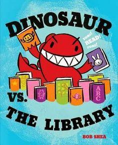 "the Library ""Roar, Roar, Roar! Dinosaur versus the cow - dinosaur wins chocolate milk! Dinosaur vs the chicks and they are not afraid of him. Dinosaur vs the library and the library wins! I like to roar. Library Week, Library Books, Library Ideas, Kid Books, Library Card, Class Library, Kids Library, Library Programs, Preschool Library"