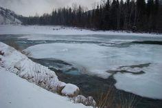 Горный Алтай. Река Кокса холодной зимой.