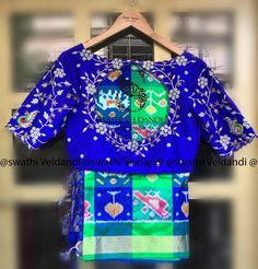 Gorgeous royal blue color designer bridal blouse with floral lata design hand embroidery work. Blouse with jari boarder sleeves. Blouse with key hole design. Pattu Saree Blouse Designs, Half Saree Designs, Blouse Designs Silk, Designer Blouse Patterns, Bridal Blouse Designs, Kurta Skirt, Kids Blouse Designs, Maggam Work Designs, Maggam Works