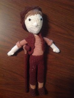 Amigurumi Crutchie (from Newsies on Broadway) by WeavingaYarn on Etsy.  Guuuys!!! I have him and he's beautiful and perfect and lovely. <3  (Also, she makes them to order, so you can ask for one that looks like AKB's Crutchie or Zach's (this one, it's the one I have. ;)) or Andy's. :3) Really though. This makes me way too happy. :3