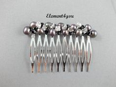 Pearl comb, Wedding comb, Hair accessories, Freshwater pearls comb, Silver comb, Hair piece, Bridal comb, Rhinestone crystals, SALE