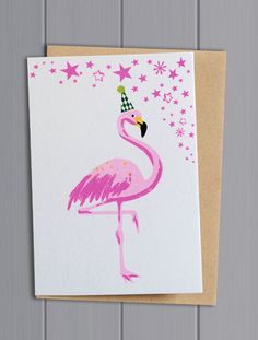 Flamingo Print Greetings Card £2.65 at www.pinksandgreen.co.uk