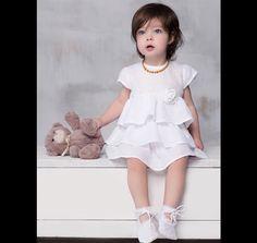 Vestido de lino para bautizo niña 68cm