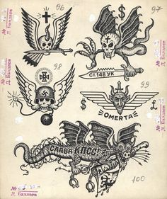 Drawings of Russian criminal tattoos by Danzig Baldaev. Collection ...