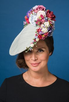 dove blue silk colourful flowers Fascinator Hats 79c54a51825