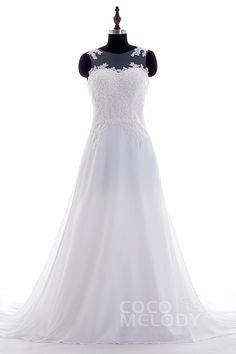 Fashion A-Line Illusion Court Train Chiffon Ivory Sleeveless Wedding Dress Appliques LWST15003 #weddingdresses #cocomelody