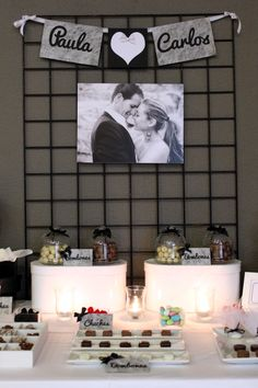 Mesa dulce para boda en blanco y negro - Black and white sweet table for a…