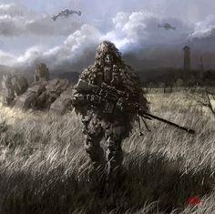 Future sniper Picture  (2d, illustration, sci-fi, soldier, sniper)
