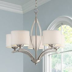 """Possini Euro Ariano 27 1/4"""" Wide Brushed Nickel Chandelier - #T8825   Lamps Plus"""