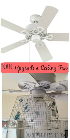 """Update a standard builders ceiling fan with a wire basket and vintage metal flowers. Learn how a $68 hardware store fan is made """"cool"""" with a simple and economical upgrade / via DazzleWhileFrazzled blog"""