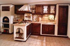 Cucina con penisola - Soluzione d'arredo in finta muratura con penisola