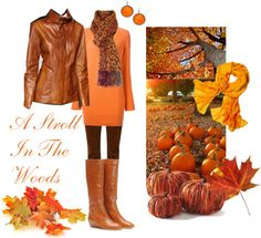 Imagine a stroll among the beautiful autumn leaves. The air is crisp and cool. This outfit idea is casual, yet styled to wear if you're walking with someone special. Read below the image to learn how you can pull off this outfit!    Orange and Brown Casual Fall Outfit by jen-thoden featurin