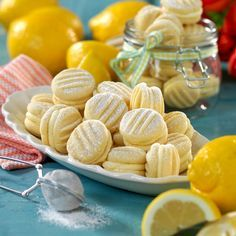 Dubbla citronkakor Cookie Desserts, No Bake Desserts, Cookie Recipes, Snack Recipes, Snacks, Lemon Recipes, Sweet Recipes, Baking Recipes, Bagan