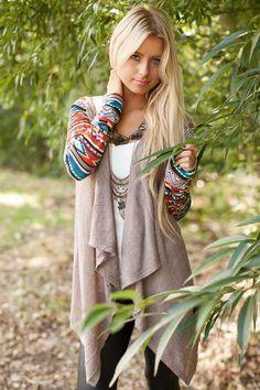 Lime Lush Boutique - Mocha Aztec Print Sleeve Cardigan, $44.99 (http://www.limelush.com/mocha-aztec-print-sleeve-cardigan/)***Checkout our contest: https://www.pinterest.com/pin/494199759088658809/) ***