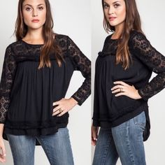 1 HR SALEVALENCIA lace baby doll top - BLACK HPx2 - I love simple girly elegance. This top is just that. Back button closure with open back design. ‼️NO TRADE, PRICE FIRM‼️ Tops Tees - Long Sleeve