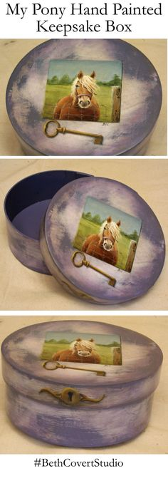 Hand Painted Pony and Key-to-my-heart Box to hold those special trinkets and photos.  One of a series of horse themed keepsake boxes I have just completed. They are a lot of fun, but extremely time consuming, starting with several coats of flat paint, glazing and antiquing, hand painted decoration, and topped with at least 5 coats of furniture varnish.