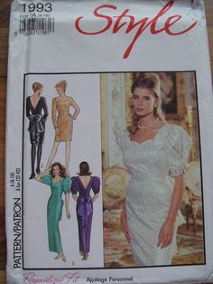 1991 Vintage Style sewing pattern 1993 ladies evening dress sizes 6 to 16. UNCUT | eBay