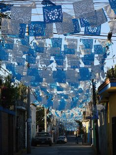 papel picado albiazul / perforated white & blue paper by ix 2012, via Flickr