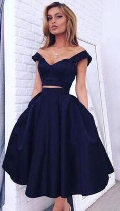 two piece homecoming dress, chic homecoming dress, off the shoulder homecoming dress, party dress, black homecoming dress