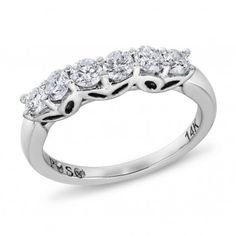 PassionStone Collection, 14k White Gold Round SI2 Diamond Wedding Band, 5/6 ctw