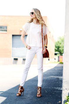 Fashion Jackson rocks the Harper Hallam Hobnail Cuff with an all-white ensemble.